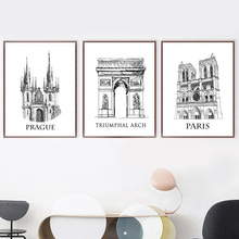 Prague Paris Triumphal Arch Nordic Poster And Prints Wall Art Canvas Painting Wall Pictures For Living Room Bedroom Home Decor цены