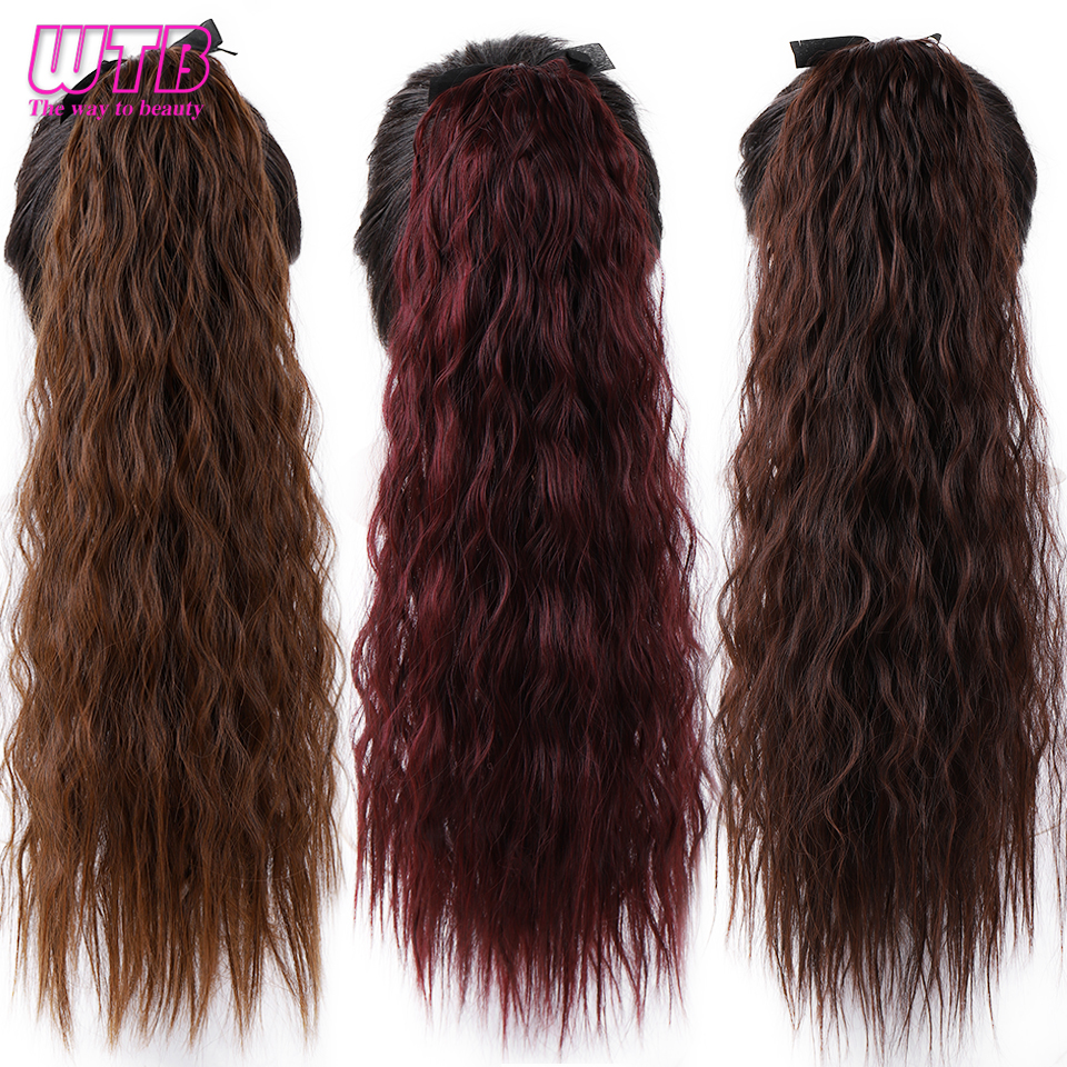 WTB Long Corn Culry Black Ponytail For Women Heat Resistant Synthetic Drawstring Long Pony Tail Clip In Hair Extensions