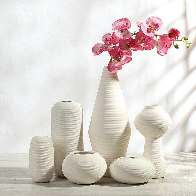 elegante simple de cermica blanco rayas modernos jarrones decorativos de porcelana de mesa y piso florero - Jarrones Modernos