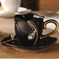 1Pcs Diamonds Design Coffee Cups with Saucer Creative Tea Cups 3D Ceramic Cup With Rhinestones Decoration Valentine's Day Gift
