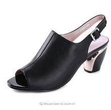 Frauen Sommer Sandalen Peep-toe Solide PU Leder Med High Heels Schuhe Frau Platz Pumps Frühling zapatos mujer alias 1106