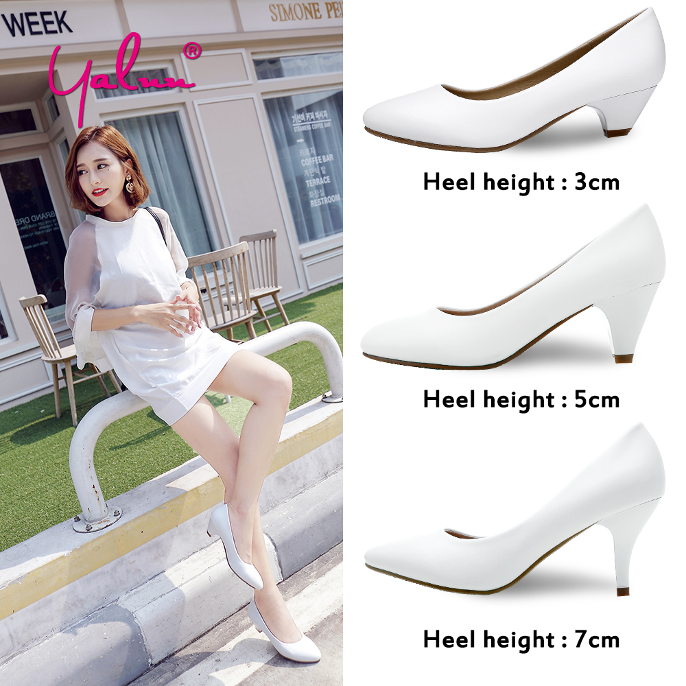 Black Basic Spring Autumn Women Party Shoes Big Size Classics Pointed Toe Pumps White Thin Heels OL Soft Leather Shoes Woman New free shipping 2016 spring autumn pointed toe rhinestone med heels woman shoes big size40 21 42 43 nubuck leather pumps shoes