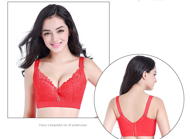 Jerrinut Plus Size Bras For Women Sexy Lace Bra Bralette Underwire Full Cup Super Push Up Brassiere D E cup 5