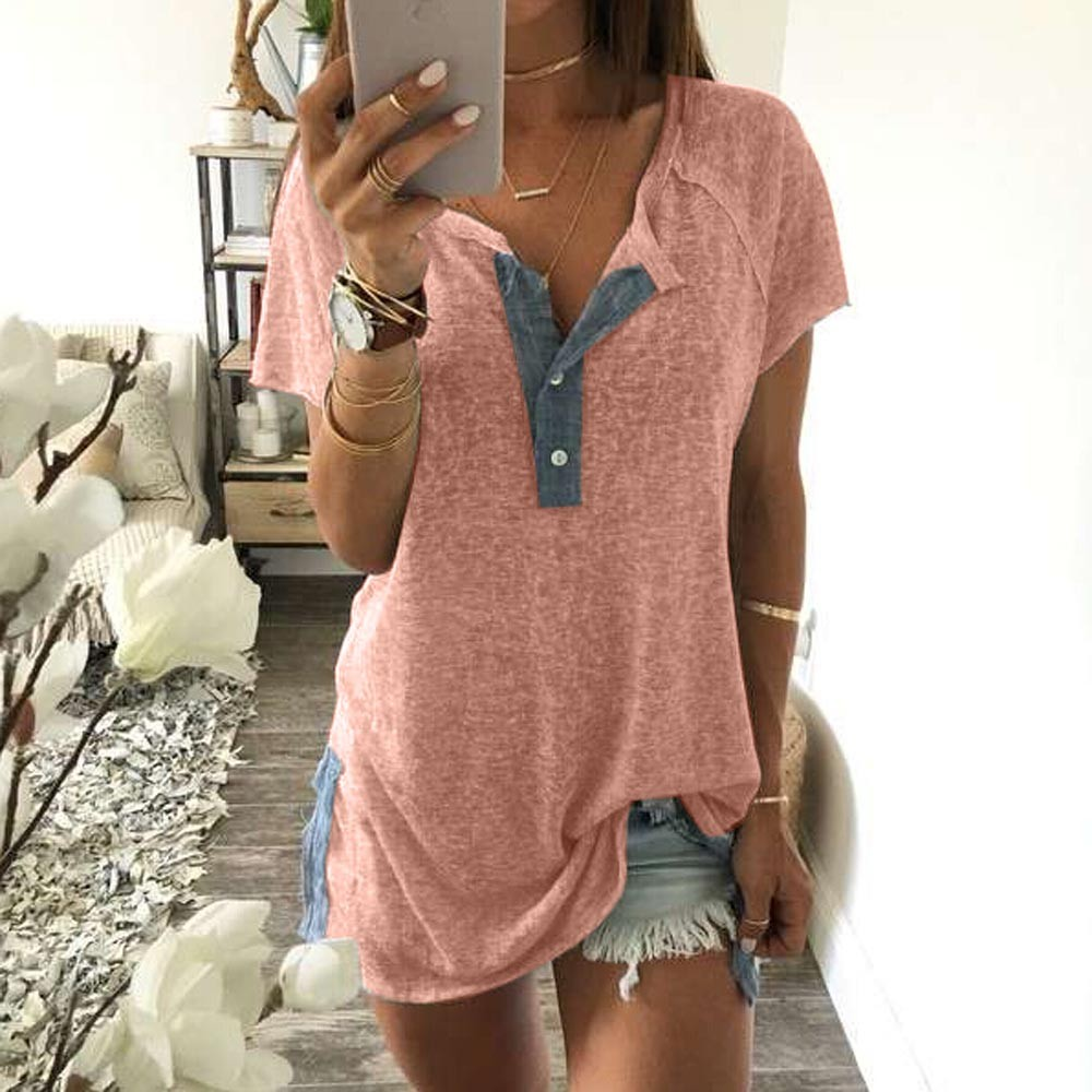 2018 Women Blouses Summer Shirts Sundress Tops Loose Patchwork Casual Button Short Sleev ...