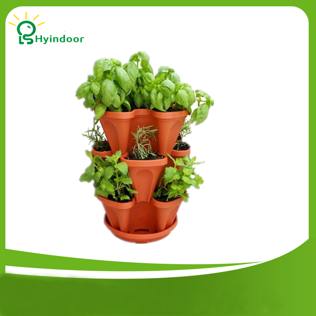FREE SHIPPING 3pcs Stackable Garden Planter Herb Flower Pots Indoor Outdoor  Round Clover
