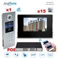 7 ''Touch Screen WIFI IP Video Tür Sprechanlage + POE Schalter 15 Etagen Gebäude Access Control System Unterstützung passwort/IC Karte-in Videosprechanlage aus Sicherheit und Schutz bei