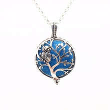Owl on Tree of Life Vintage Silver Aroma Necklace Magnetic Closure Locket Essential Oil Diffuser Pendant Necklace Jewelry Gift