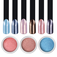 Mirror Effect Nail Glitter 2g/Box Pink Blue Rose Red Colors Diamond Pearl Powder Shimmer Dust DIY Art Mermaid Pigment