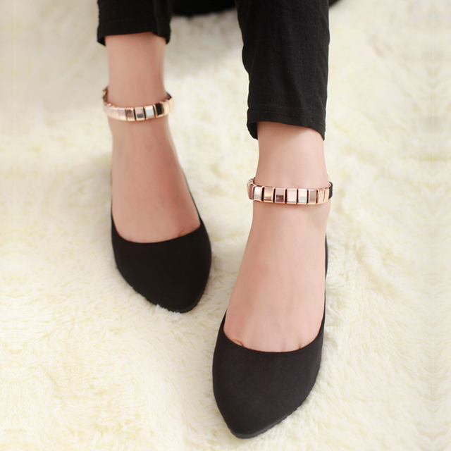 2016 spring Sweet Gourd Buckle Shoes Pointed Women Cozy Shoes 2CM increase Flat Woman's Leather shoes