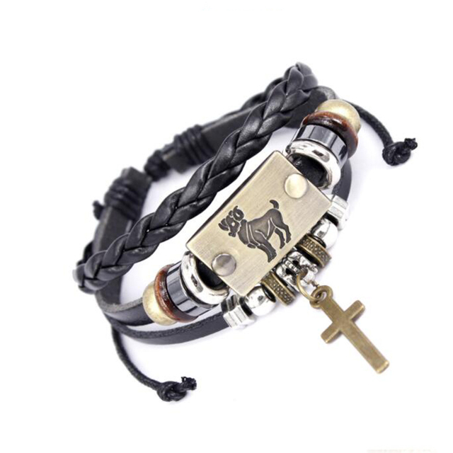 Drop shipping Hot Sell Europe Fashion 12 Constellation Signs Bracelet cross charms real leather bracelet for women men XY17022
