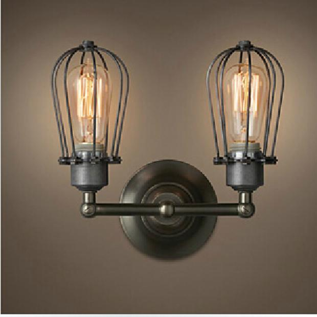 American country style double cage wall lateral light in the bedroom living room lights balcony lamp commercial Wall Lamp GY94 the living room lamp double european glass pendant lights simple modern bedroom lamps light in the hall american restaurant lu