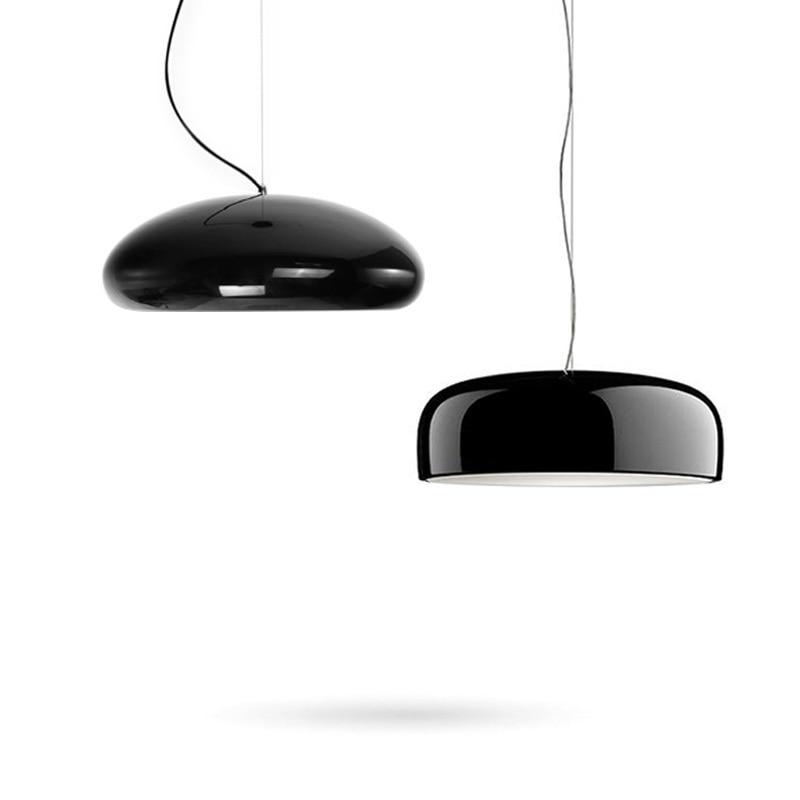 Modernas luzes pingente cozinha luminárias para sala de jantar preto brilhante redondo pendurado lâmpada bar restaurante decoração luminária suspendu|Luzes de pendentes|   -