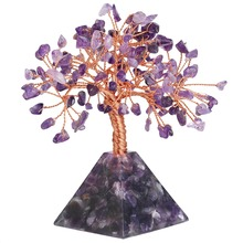 TUMBEELLUWA Natural Purple Crystal Money Tree with Pyramid Base Bonsai Home Decoration Wealth Luck