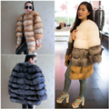 Hot sale European Luxury real Red Fox Fur coats , Plush Natural silver fox fur outerwear women's fur coat customized