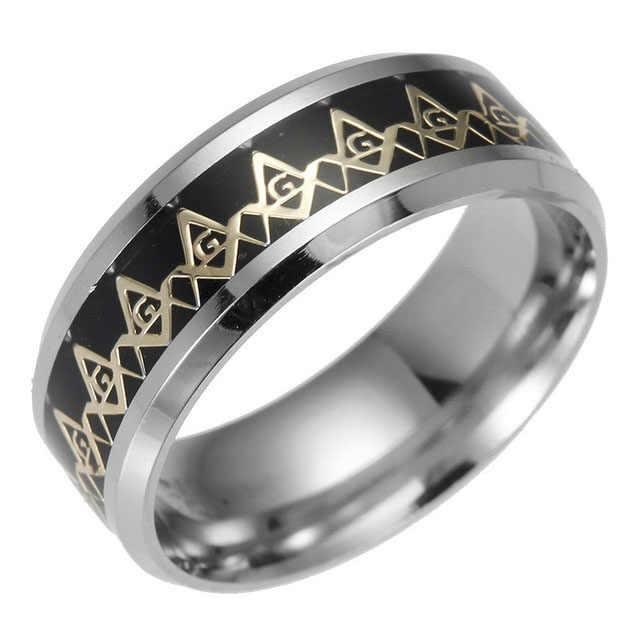 2018 nova freemasons anel maçônico anéis para homens mulher ouro prata preto 316l aço inoxidável encantos freesonry moda jóias