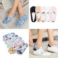 Invisible 2019 New Low Cut Women Boat Socks Comfy Summer Elastic Ice Silk 1 Pair Short Hosiery Antiskid Female Ankle Socks