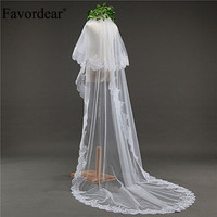 Favordear 3m Lace Edge Cathedral Length Wedding Bridal Veil With blusher with Comb