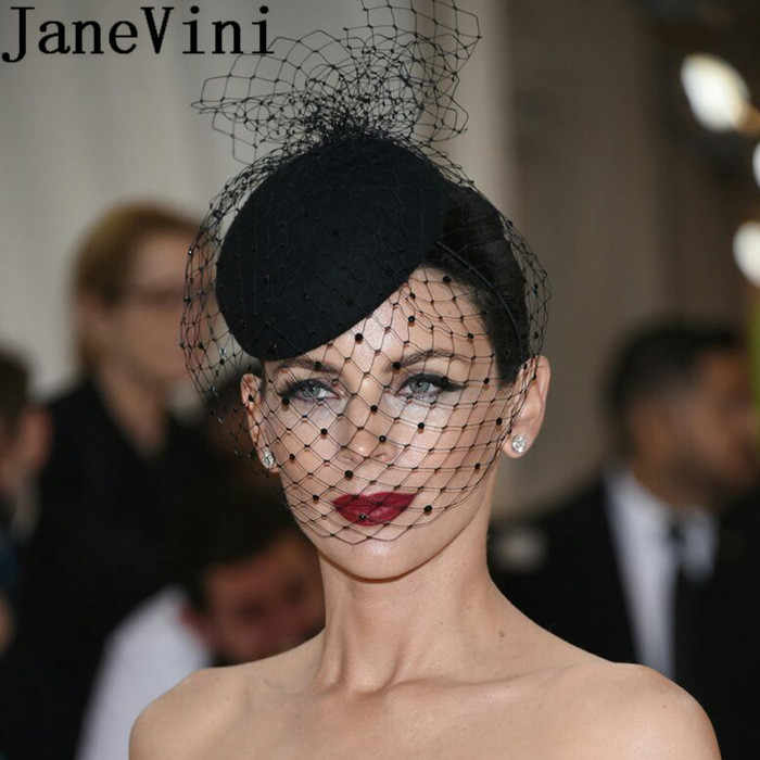 JaneVini Black Birdcage Veil Wedding Hat White Facinators Bridal Hats Chic Women Headwear 2019 Wedding Acsessoire for Hair