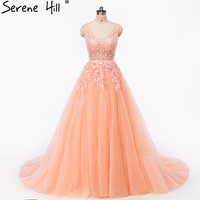 Sexy Backless Pearls Lace Evening Dresses 2018 New Arrival Peach Sheer Long Formal Dress Arabic Robe De Soiree BHA2108