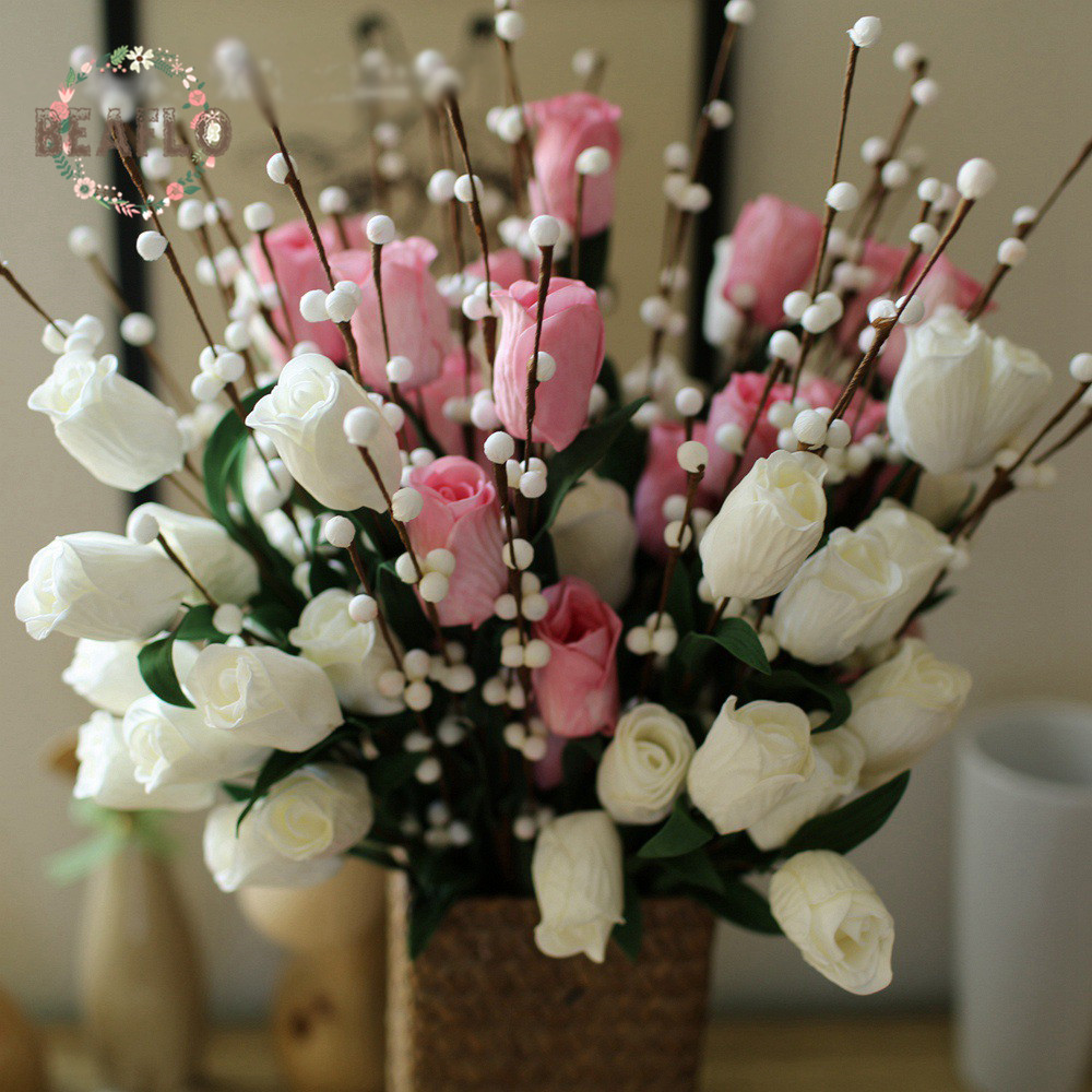 1PC Artificial PE Tulip With White Fruit 4 Heads Plant Silk Flower Wedding Flower Arrangement