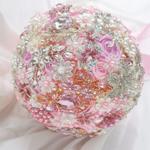 8-inch custom bridal bouquet, pink wedding bride holding flowers, bouquet brooch, diamond pearl jewelry made of ribbons