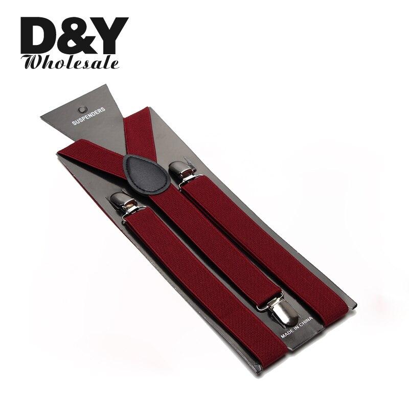 2015 Best Mens 2.5cm wide Burgundy color Unisex Clip-on Braces Elastic Slim Suspender Y- back Suspenders Wholesale & Retail