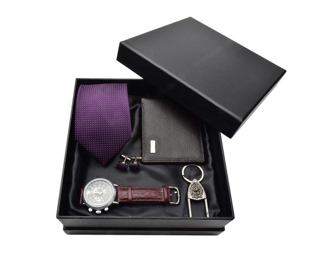 Men Watch Gift Set Tie Cufflinks Key chain Leather Wallet  Men New Year Gift Set Quartz Wristwatch Luxury Business Reloj Hombre