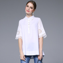 2017 Summer PLus Size 4xl 5xl Crochet Hollow Out White Lace Blouses Loose Casual Shirt Tops