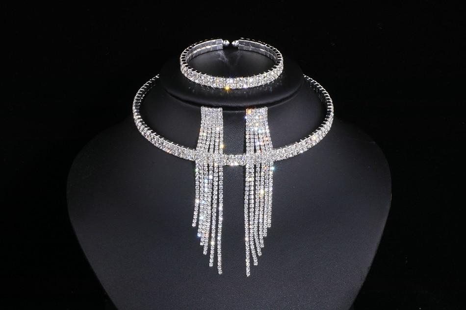 IMG_4809 - Classique, élégant Gland Cristal, Collier De Mariage, Boucles D'oreilles,