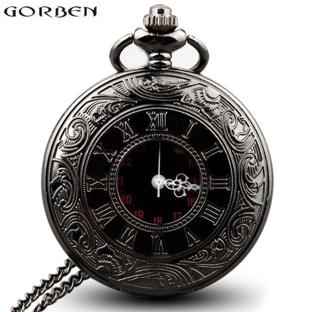 Vintage Black Charm Steampunk Roman Numbers Pocket Watch Necklace Hollow Quartz