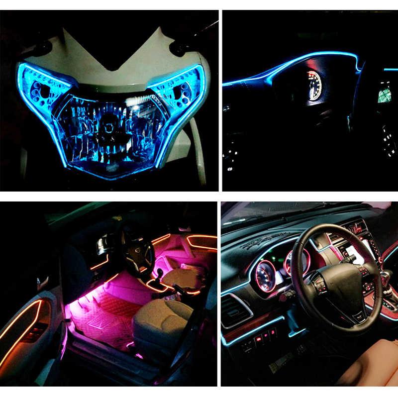 Светодиодный лента с неоновой подсветкой Танцевальная Вечеринка автомобиля Декор Настенные светильники Гибкий EL провода лампа веревка для Водонепроницаемый Батарея Светодиодные ленты с контроллером