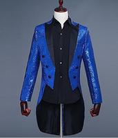 Men's Suit Blazer Royal Blue Bling Sequins Tuxedos Jacket Blazer Peak Lapel Formal Wear Coat Stage Jacket for Evening Prom Party