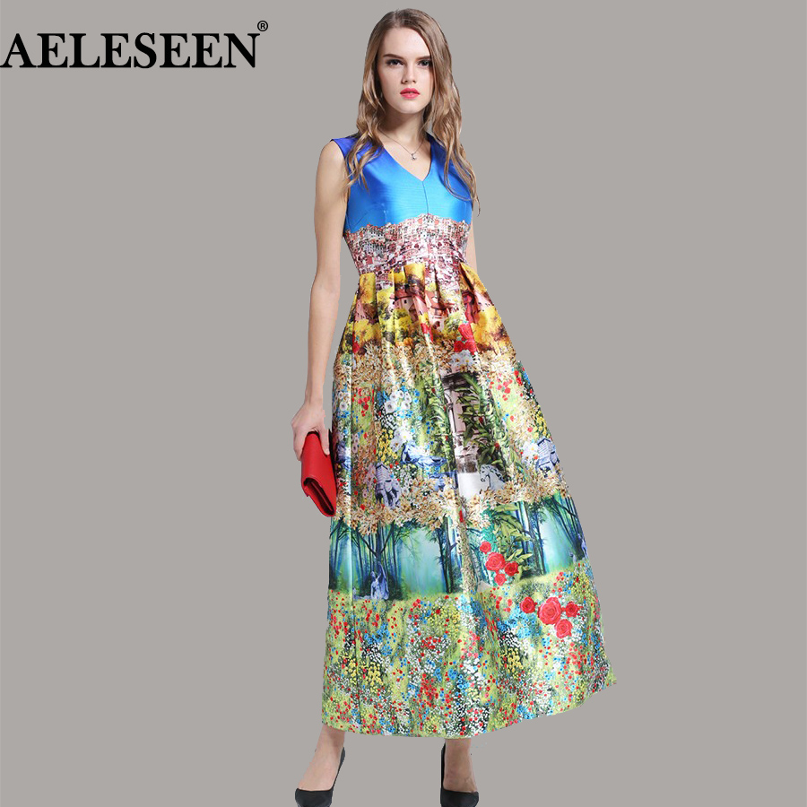 Women New Dresses 2018 Summer Spring Sleeveless Vintage Floral Trees Luxury Print Slim 2018 V neck