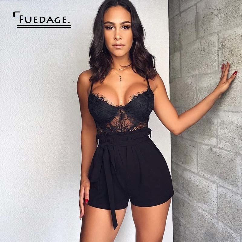 Fuedage Sexy V Neck Lace Playsuit Women Sash Rompers Womens Jumpsuit Backless Bandage Summer Party Playsuit Jumpsuit Overalls