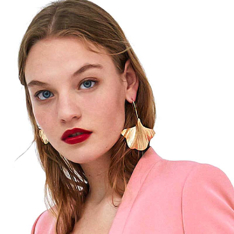 Vodeshanliwen Fashion ZA Charm Golden Big Leaf Earrings New Metal Statement Dangle Drop Long Earrings For Women Jewelry Gift