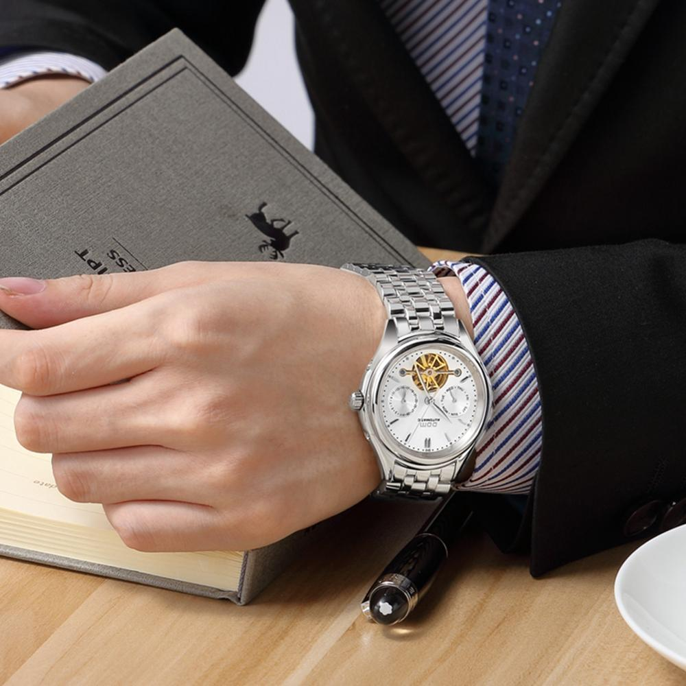 Image 5 - DOM Mens Watches Top Brand Luxury Mechanical Watch Men Stainless Steel Waterproof Sport Wrist Watch Relogio M 815D 7M-in Mechanical Watches from Watches