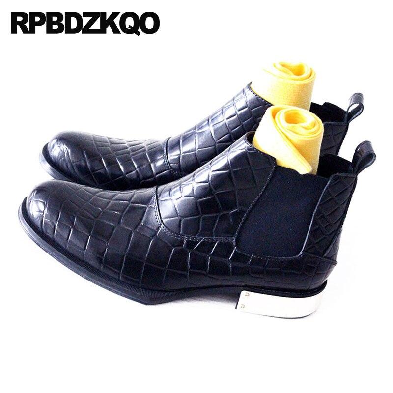 Piel Talla Tobillo Punteado Mas Negro Cima Cocodrilo Dedo Botas Lujo Azul Alta Zapatos Completo Cuero Vestir Chelsea Cómodo Botines Calzado Fornido Grano Corto Hombre Del Masculino Moda De Serpiente Extra qZUvwSt4x