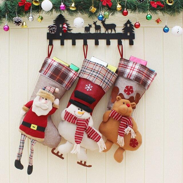 1pcs christmas gift bag decorations gift bag pendant ornaments large socks christmas stockings santa claus pocket - Christmas Decorations Large Santa Claus