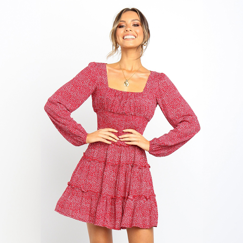 Elegant women <font><b>dress</b></font> broken flower square collar elastic waist mini <font><b>dress</b></font> <font><b>sexy</b></font> women <font><b>red</b></font> <font><b>short</b></font> <font><b>dress</b></font> party night image
