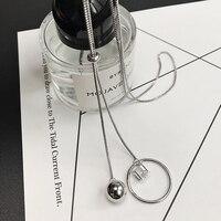 Beles Round Sliver Ball Alloy Long Necklace Women Czech Diamonds Chocker Jewellery Set Friendship Necklaces & pendants Jewelry