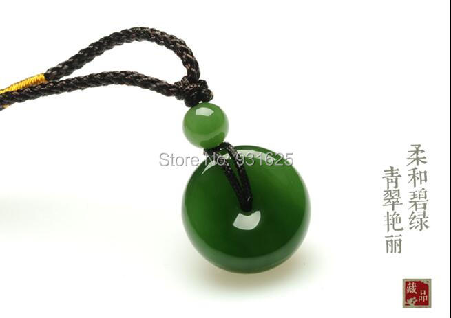 Real Natural HeTian YU Hand Carved Lucky safety Buckle Blessing Pendants Fine Green Pendant Necklace + certificateReal Natural HeTian YU Hand Carved Lucky safety Buckle Blessing Pendants Fine Green Pendant Necklace + certificate