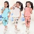 2016 летний стиль девушки одежда устанавливает цветы с коротким рукавом цветочные блузка + досуг брюки детская одежда детская костюм 5-12 лет