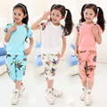 2016 summer style girls clothing sets flowers short sleeve floral blouse + leisure pants kids clothes children suit 5 -12 years
