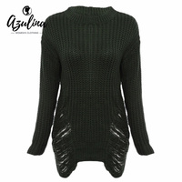 Adalisa Sexy Frayed White Knitted Sweater Women Long Sleeve Warm Thick Winter Long Sweaters Fashion Pullover