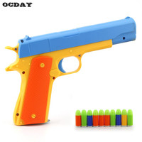 Toy Gun Children Toys Semi Automatic Toy Weapon With Soft Bullets Imitation Gun Military Models Funny