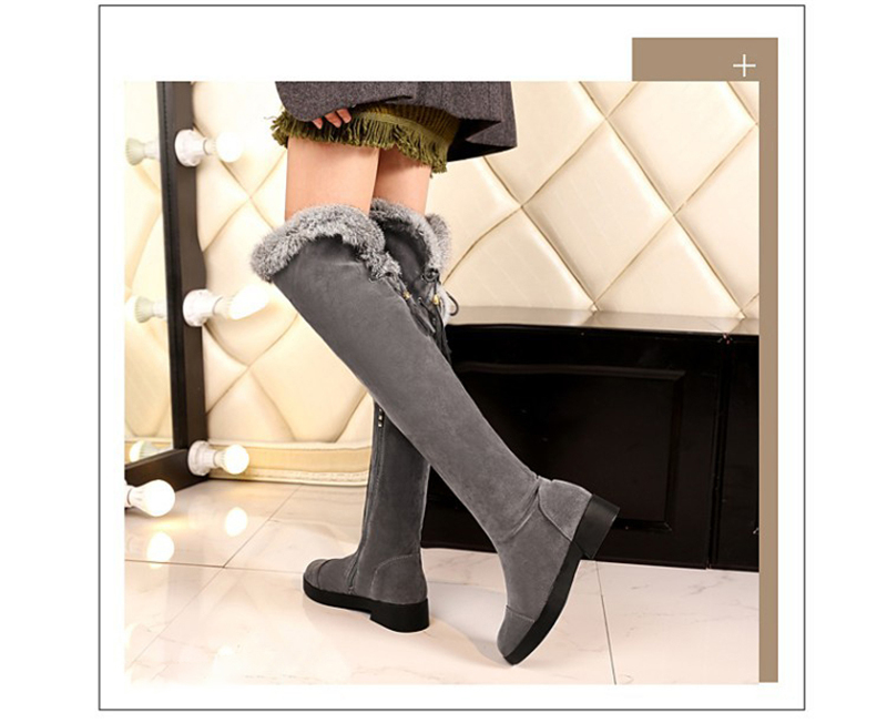 ee8eff860bc Thigh Long Snow Boots Sexy Women Shoes Fashion Over Knee Boots Flock ...