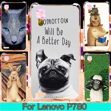 Phone Plastic Case For Lenovo P780 5.0 inch P 780 Case Cover For Lenovo P 780 Animal Cat Phone Painted Cover Shell Housing