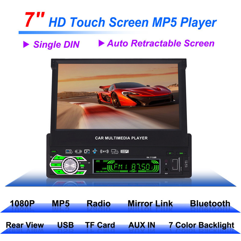 RK-7158B 1 DIN Bluetooth Stereo Car Radio MP5 Player 7 Inch Automatic Retractable Touch Screen Car Monitor With Rear View Camera 7 touch screen 7026 car bluetooth mp5 player gps navigation support tf usb aux fm radio rearview camera steering wheel control