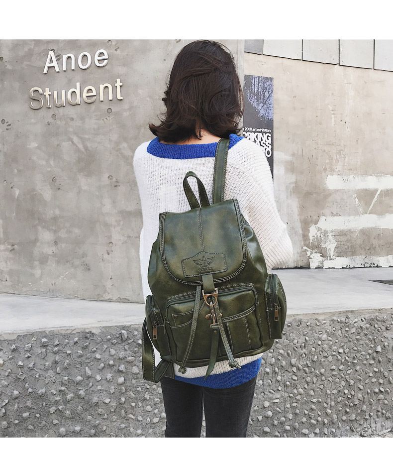 2019 Vintage Women Backpack For Teenage Girls School Bags Fashion Backpacks Retro Leather Black Drawstring Large BagPack XA150H