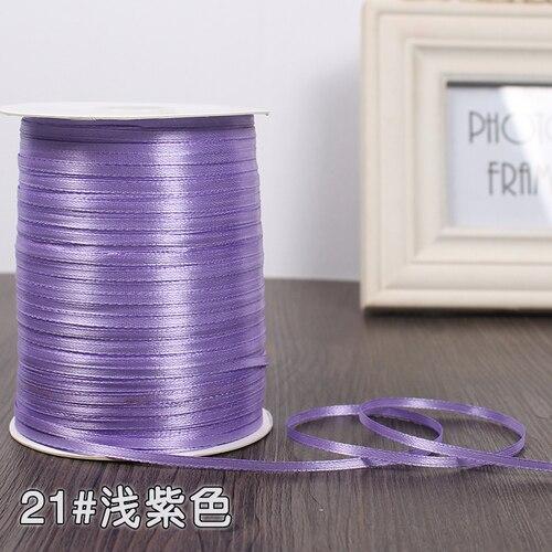 3 мм ширина бордовые атласные ленты 22 метра швейная ткань подарочная упаковка «сделай сам» ленты для свадебного украшения - Цвет: Light Purple